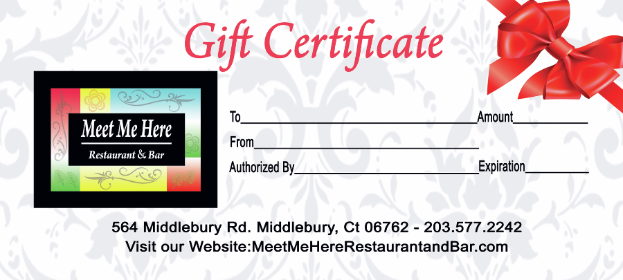 Meet Me Here Restaurant And Bar Gift Certificate